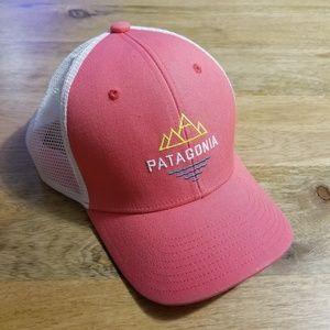 Patagonia Coral Trucker Hat Mountain Logo Mesh